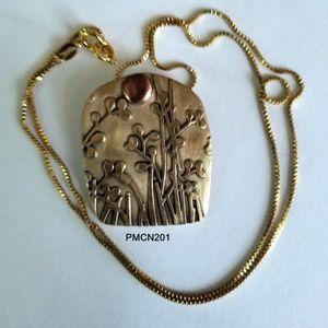 Handcrafted Bronze Garden PMC Pendant Necklace